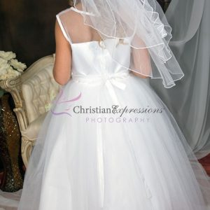 Girls First Communion Dress with Tulle and Sequined Appliques Sheer Neckline