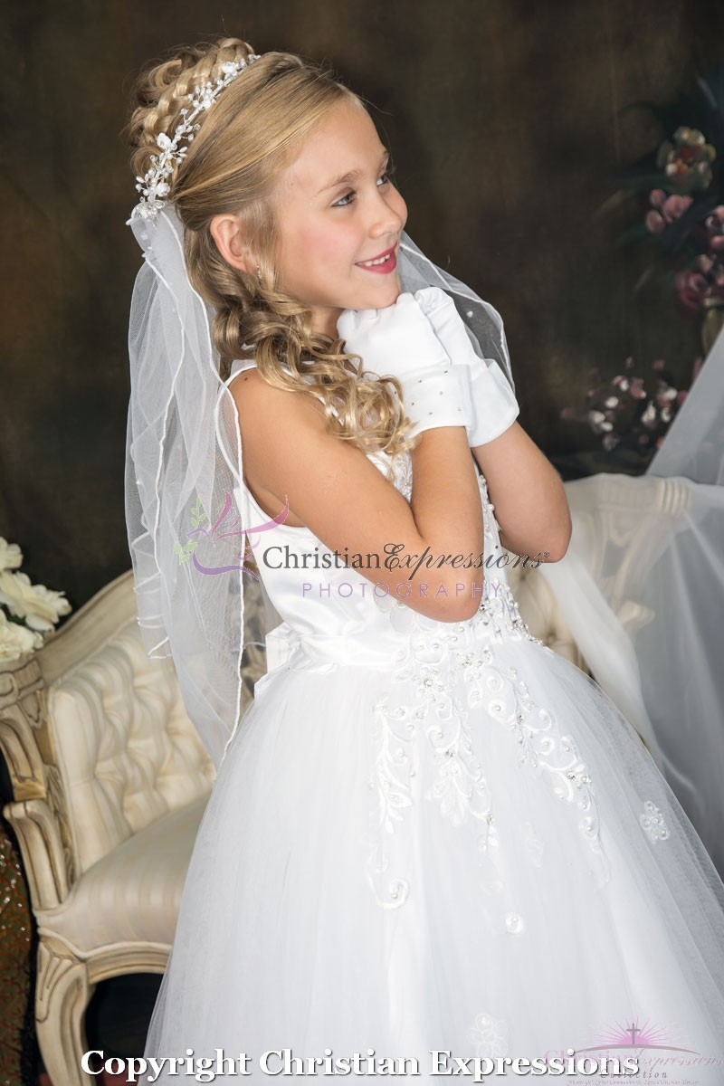 fac741b6e58 First Communion Dress with Tulle and Sequined Appliques