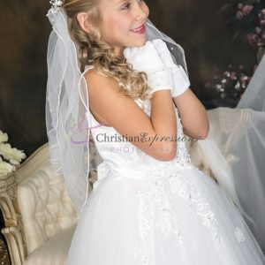 Girls First Communion Dress with Tulle and Sequined Appliques Sleeveless Sheer Neckline