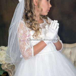 Girls First Communion Dresses with Lace Bodice Three Quarter Sleeves