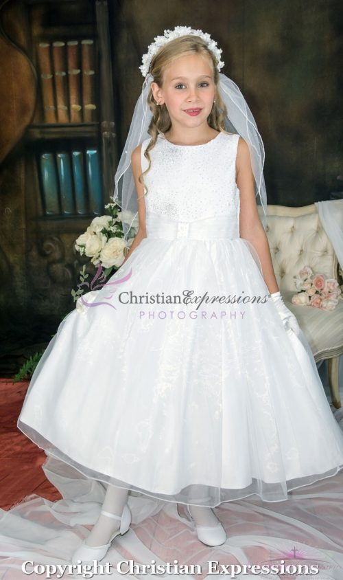 Girls First Communion Dresses with Sequined Bodice