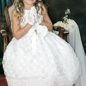 Girls First Holy Communion Dresses with Embroidered Tulle
