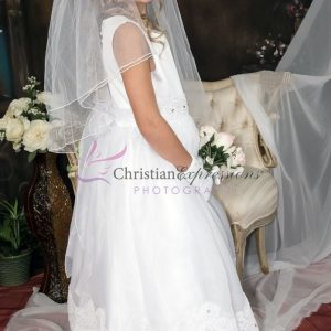 Girls White First Communion Dress Organza with Lace Trim