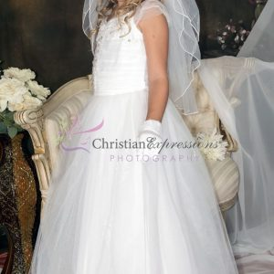 Girls White First Communion Dress with Gathered Sequined Bodice