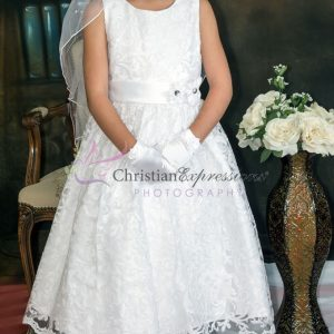 Girls white first communion dress lace overlay with sequins