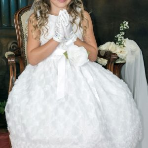 Holy Communion Dresses Embroidered Tulle and Flower Accent
