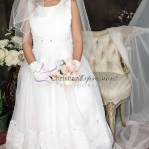 Lace First Communion Dress Organza with Lace Trim