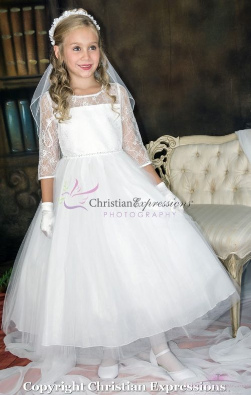 Long Sleeves First Communion Dress with Lace Bodice and sequins waistline