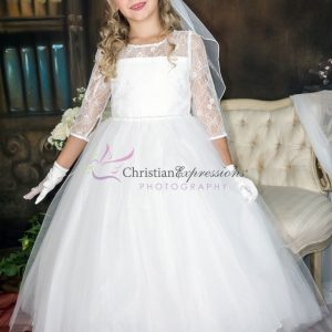 Long Sleeves First Communion Dress with Lace Bodice and sequins waistline for Girls