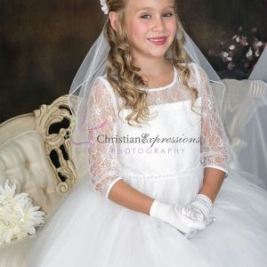 Long Sleeves White First Communion Dress with Lace Bodice and sequins waist