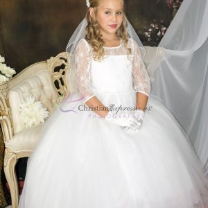 Long Sleeves White First Communion Dress with Lace Bodice and sequins waistline
