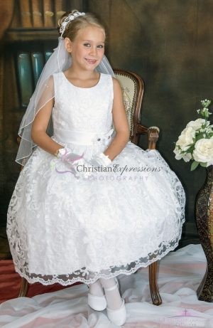 Modern communion dresses lace overlay with sequins