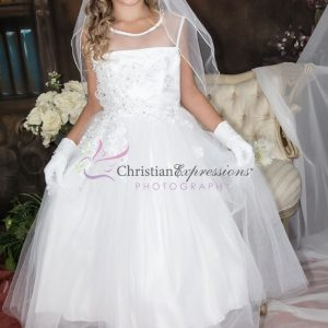 Organza Sheer Neckline Sequins and Pearls Beaded First Holy Communion Dress