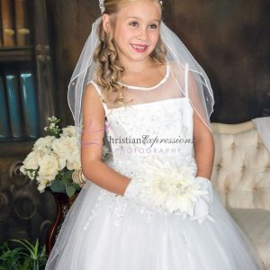 Organza Sheer Neckline Sequins and Pearls Beaded White 1st Communion Dresses