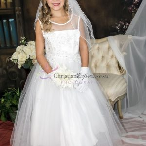 Organza Sheer Neckline Sequins and Pearls Beaded White Communion Dresses