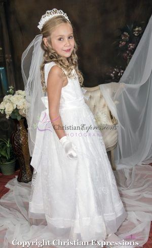 White 1st Communion Dresses Embroidered Lace Overlay and Sash