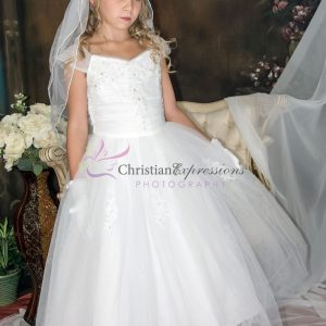 White 1st Communion Dresses with Gathered Sequined Bodice