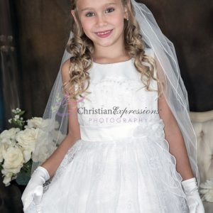 White 1st Holy Communion Dresses Embroidered Lace Overlay and Sash