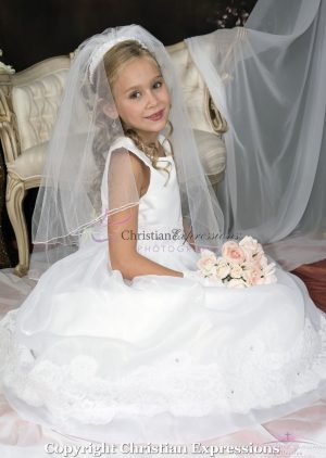 White First Communion Dress Organza with Lace Trim