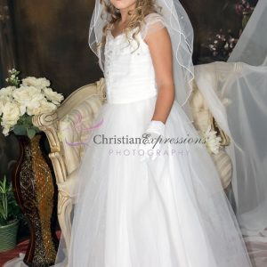 White First Communion Dress with Gathered Sequined Bodice