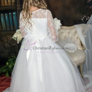 White First Communion Dress with Lace Bodice Three Quarter Sleeves