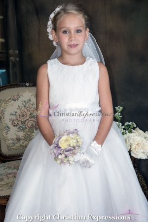 White First Communion Dress with Lace Bodice and Satin Rosettes