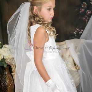 White First Communion Dress with Lace Overlay and Sash