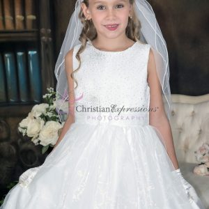 White First Holy Communion Dresses with Sequined Bodice