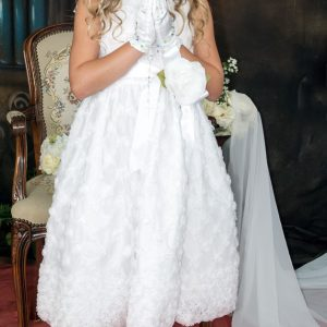 White First Communion Dress with Embroidered Tulle