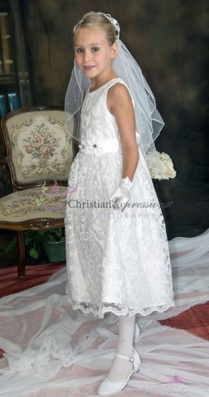 first communion dress lace overlay with sequins