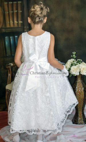 white first communion dress lace overlay with sequins