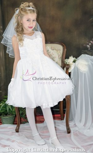 Beaded Organza Tea Length First Communion Dress Size 8