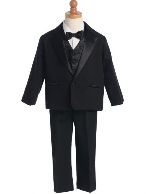 Boys Black First Communion Tuxedo Suit Set