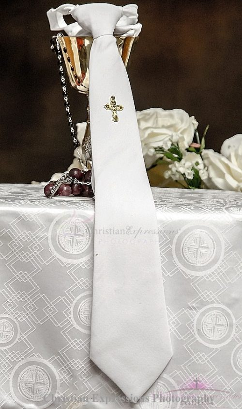 Boys White First Communion Tie with Gold Cross