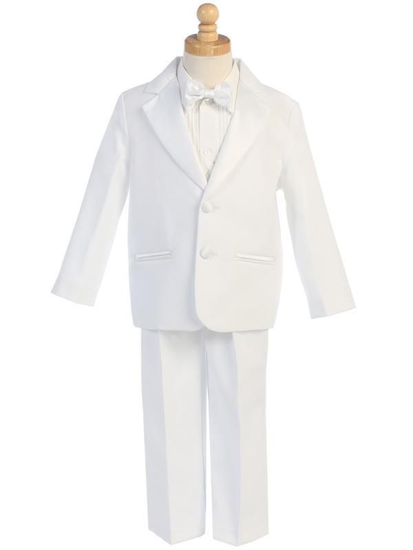 Boys White First Communion Tuxedo Suit Set