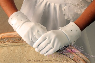 First Communion Gloves Organza Cuff Rhinestone Accents