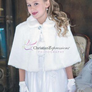 Girls First Communion Faux Fur Cape Wrap