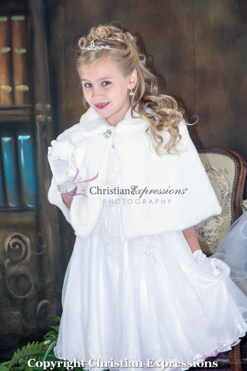 First Communion Faux Fur Cape Wrap