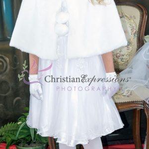 Girls First Communion Faux Fur Cape