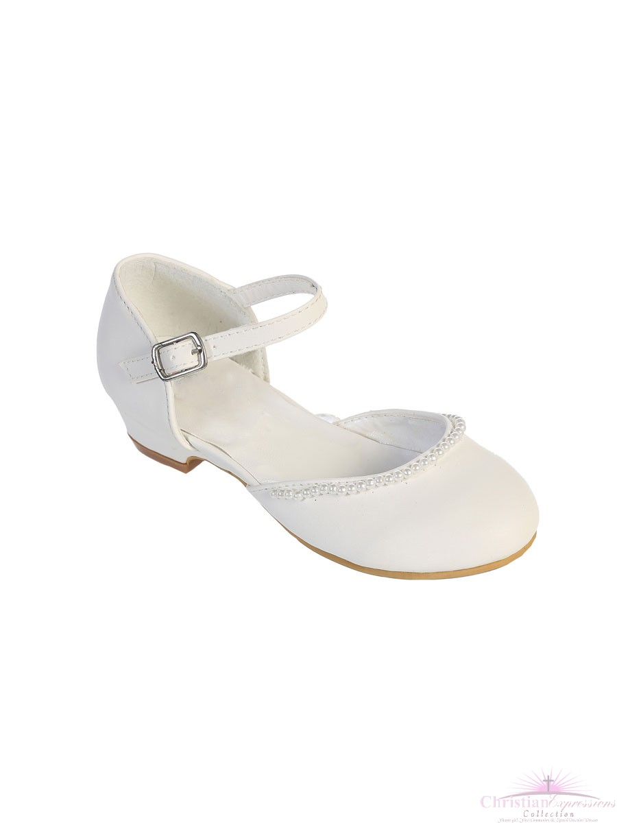 63653ab93d2e2 Girls First Communion Shoes Pearl Trim