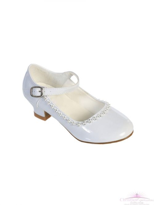 Girls Rhinestone Trim First Communion Shoes