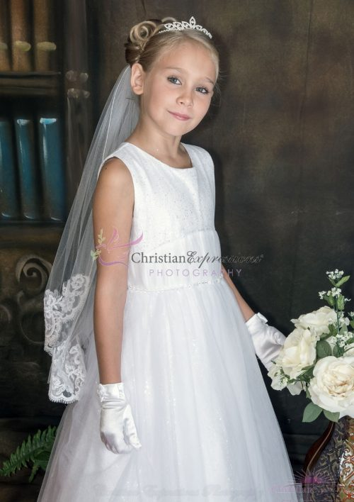 Lace First Communion Veil White