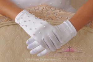 Satin First Communion Gloves with Pearls