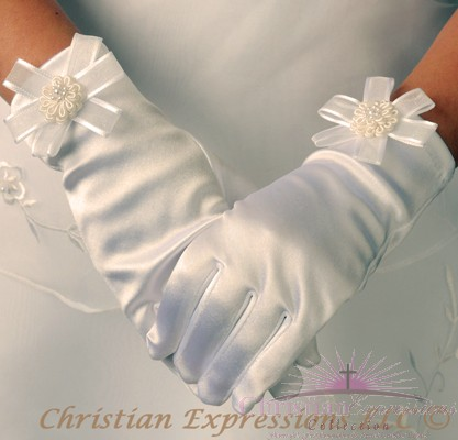 Satin First Communion Gloves with Rosette and Bow