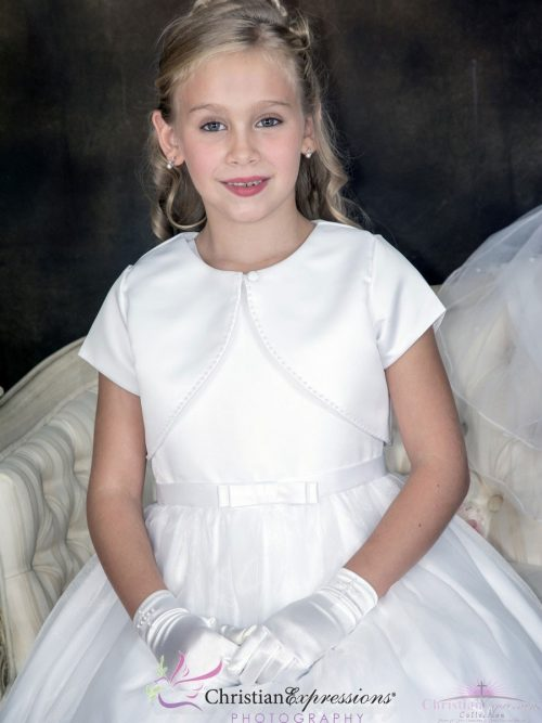 Short Sleeve Satin First Communion Bolero Jacket with Pearl Trim