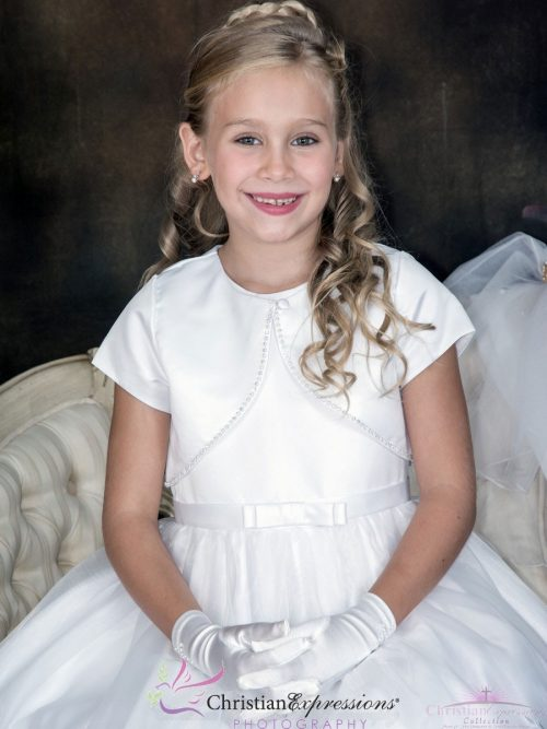 Short Sleeve Satin First Communion Jacket with Rhinestone Trim