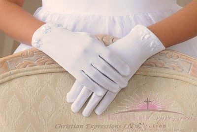 Irish Shamrock First Communion Gloves