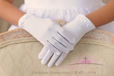 Irish Shamrock First Communion Gloves