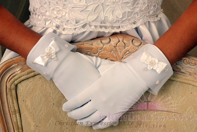 First Communion Gloves Matte Satin Organza Rosette