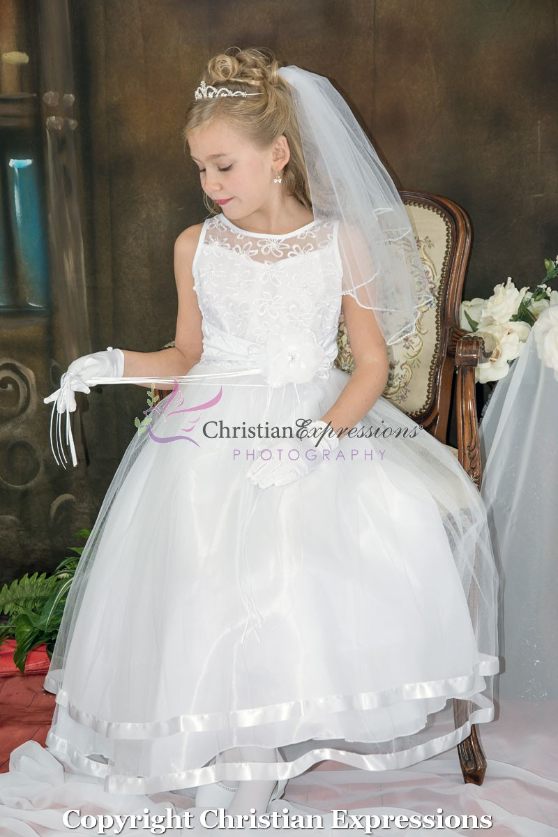 Embroidered First Communion Dress Organza Layered Skirt| Designer ...